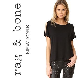 Rag & Bone Mia Tee Black Split Short Sleeve s